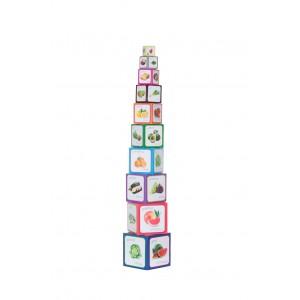 Piramida Zabaw - Wieża klocki edukacyjne Montessori - Warzywa i Owoce (Z2960)