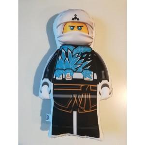 Poduszka maskotka Lego Ninjago biały+minky szary (Z3123)