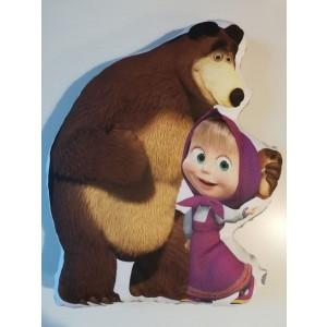 Poduszka maskotka Masza i Niedźwiedź+minky szary (Z3124)