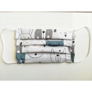 Maseczka bawełniana z kieszonką na filrt 10-15 lat - dużo wzorów (Z2616)