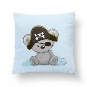 Poduszka Misiu Pirat / minky jasny szary (Z2152)