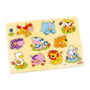 GOKI - Puzzle drewniane z uchwytami - zwierzęta (Z0009)