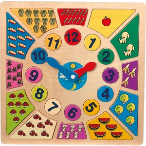 Drewniany zegar edukacyjny - puzzle wkładanka  (Z0262)