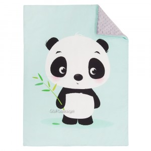 Kocyk minky miś panda/ minky szary (Z0359)