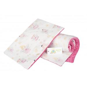 Komplet minky wróżki na białym tle/ minky różowe GUFO design (Z0389)