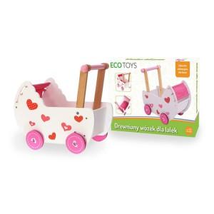 ECOTOYS - drewniany wózek dla lalek z pościelą - pchacz (Z0446)