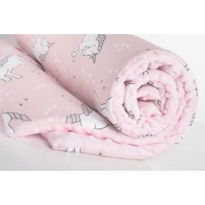 Kocyk minky jednorożce na różu/minky jasny róż GUFO design (Z0461)