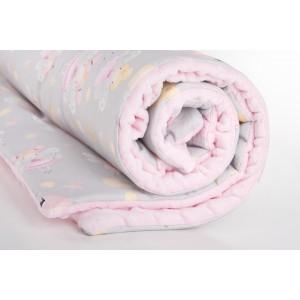 Kocyk minky wróżki na szarym tle/ minky jasny róż (Z0463)
