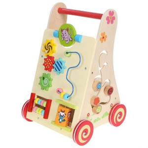 ECOTOYS - Drewniany pchacz chodzik wózek edukacyjny (Z0584)