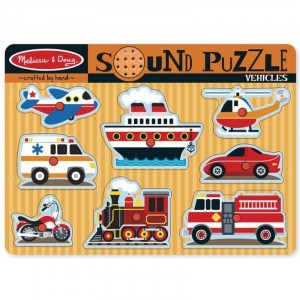 Melissa & Doug Drewniane puzzle dźwiękowe - Pojazdy (Z0759)