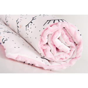 Kocyk minky zamknięte oczka/ minky jasny róż (Z0832)