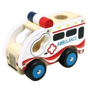 Bino - drewniane autko - Ambulans (Z0969)