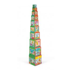 Janod - Piramida wieża 10 kostek Przyjaciele z miasta (Z0990)