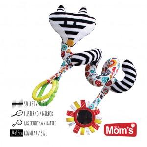 Mom's Care Hencz Toys - Zawieszka - spirala do wózka Lisek - Czarno-biała (Z1000)