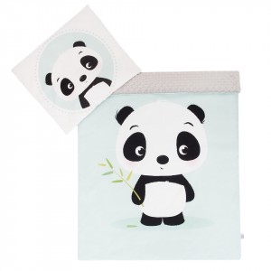 Komplet minky Panda/ minky szare 75x100 cm GUFO design (Z1076)