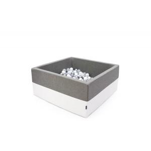 Suchy basen kwadrat 90x90x40 cm - Szary + Ecoskóra + 250 piłeczek Realizacja po 7 STYCZNIA (Z1086)
