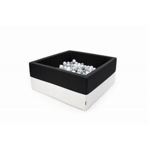 Suchy basen kwadrat 90x90x40 cm - Czarny + Ecoskóra + 250 piłeczek Realizacja po 7 STYCZNIA (Z1087)