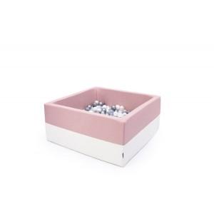 Suchy basen kwadrat 90x90x40 cm - Pudrowy róż + Ecoskóra + 250 piłeczek Realizacja po 7 STYCZNIA (Z1088)