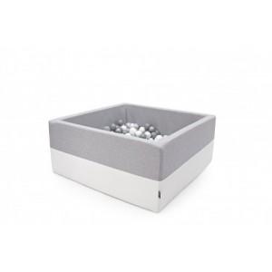 Suchy basen kwadrat 90x90x40 cm - jasny szary + Ecoskóra + 250 piłeczek Realizacja po 7 STYCZNIA (Z1089)
