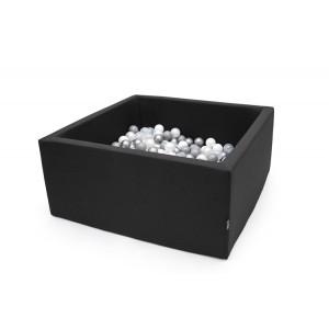 Suchy basen kwadrat 90x90x40 cm - Czarny + 250 piłeczek (Z1090)