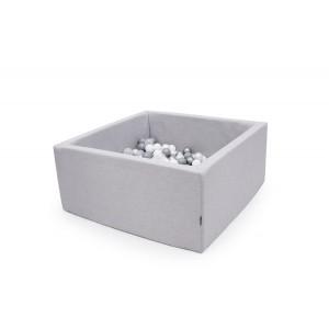 Suchy basen kwadrat 90x90x40 cm - Jasny szary + 250 piłeczek (Z1091)