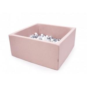 Suchy basen kwadrat 90x90x40 cm - Pudrowy róż + 250 piłeczek (Z1092)