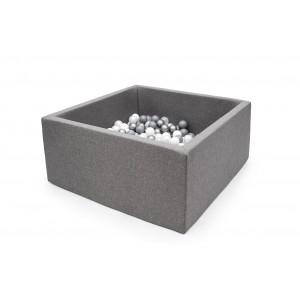 Suchy basen kwadrat 90x90x40 cm - Szary + 250 piłeczek (Z1094)