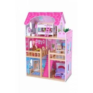 Ecotoys - Drewniany dom dla lalek Nowa Rezydencja Malinowa (Z1145)