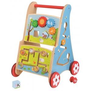 Lelin- Drewniany pchacz chodzik wózek edukacyjny (Z1154)