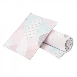 Komplet minky chmurki pastelowe różowe/ minky jasny szary GUFO design (Z1169)