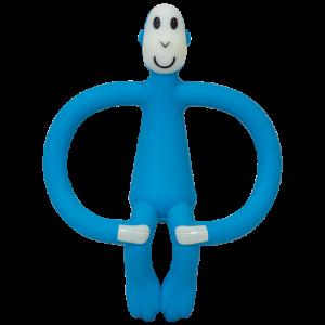 Matchstick Monkey - ekologiczny i bezpieczny gryzak ze szczoteczką masującą - Niebieski (Z1182)