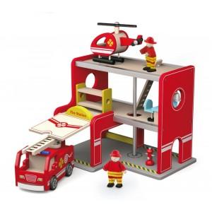 Viga - Zabawka dla chłopca - Remiza strażacka z akcesoriami (Z1214)