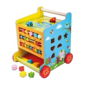 ECOTOYS Kostka edukacyjna pchacz drewniany dla dzieci (Z1242)