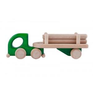 Lupo Toys - Drewniana mała ciężarówka z balami- zielona (Z1270)