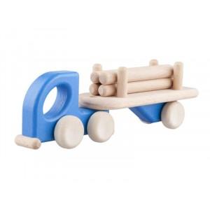 Lupo Toys - Drewniana mała ciężarówka z balami- niebieska (Z1271)