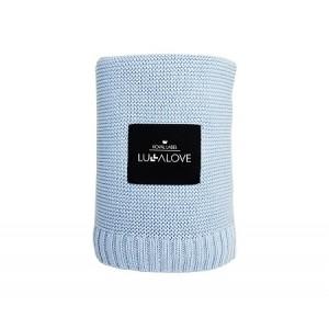 LULLALOVE -  Bambusowy koc tkany - Błękitny (Z1356)