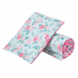 Komplet do wózka flamingi/ minky różowe GUFO design (Z1578)
