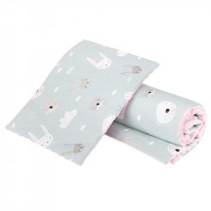 Komplet minky pastelowe króliczki/ minky jasny róż GUFO design (Z1473)