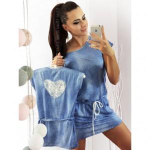 Sukienka a'la jeans Serce koronka 92/98 (Z1484)