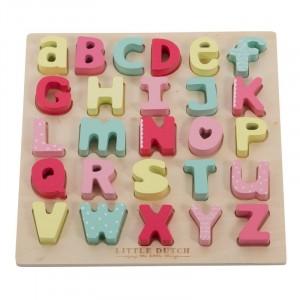 Little Dutch Drewniana układanka puzzle alfabet - róż (Z1497)