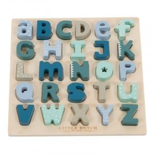 Little Dutch Drewniana układanka puzzle alfabet - Błękit (Z1498)