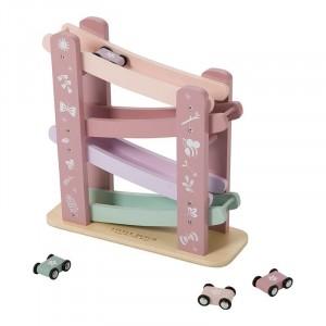 Little Dutch Drewniany tor zjeżdżalnia dla autek - Różowa (Z1500)