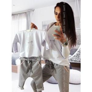 Komplet Bluzka z kotem + spodnie slim  Biały / szary 92/98 (Z1518)