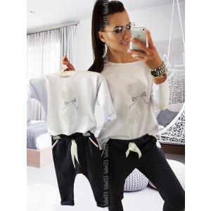 Komplet Bluzka z kotem + spodnie slim Biały / Grafit 92/98 (Z1520)