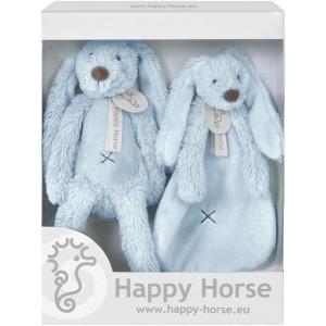 Happy Horse - Zestaw prezentowy królik Richie +szmatka - Niebieski (Z1553)
