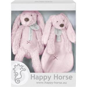 Happy Horse - Zestaw prezentowy królik Richie +szmatka - Różowy (Z1555)