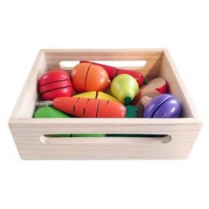Nefere - Drewniany zestaw do krojenia w skrzynce - warzywa i owoce (Z1649)