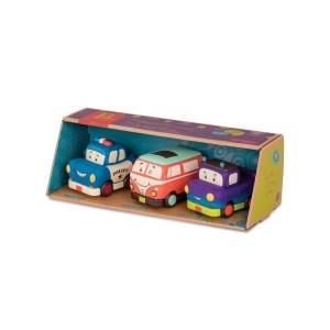 B.Toys -Zestaw 3 miękkich mini autek z busem (Z1683)