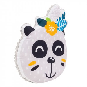 Poduszka maskotka Panda z kwiatkiem/ minky jasny szary (Z1700)