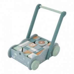 Little Dutch - wózek pchacz z klockami Błękitny (Z1801)